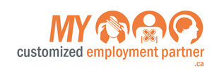 "Logo ""My customized employment partner"" representing mental health, physical and intellectual conditionsrepresenting"