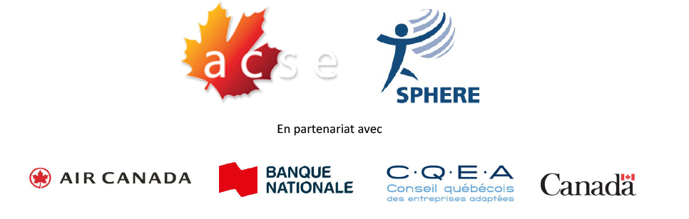 Logos CASE, SPHERE, Banque Nationale, CQEA, Air Canada, Canada.